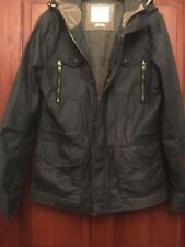 Mens Hooded Jacket M Olive Partially Distressed Baber Style RIVER ISLAND (B39)