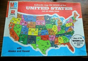 Vintage MB UNITED STATES Puzzle Map on Wood & World Map on Reverse COMPLETE