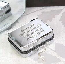 Personalizzato Inciso BOX & Argento Collana Con Croce Regalo Battesimo Regali Battesimo