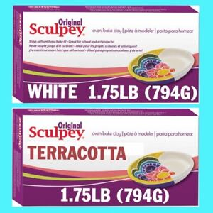 Original Sculpey Polymer Clay 794g WHITE & TERRACOTTA Super Sculpey Alternative