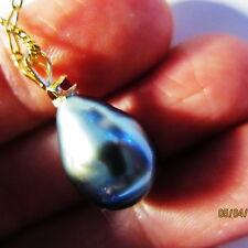 22mm Genuine RUBY Baroque Drop Tahiti,Natural Tahitian Pearl 14k Top #RMA450E.05
