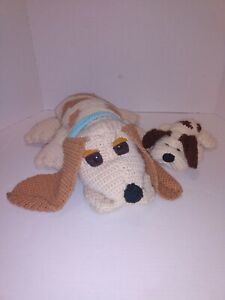 """Vtg Knitted """"Pound Puppies"""" Hand Crafted Plushies"""