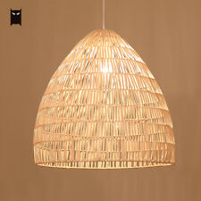 Wicker Rattan Basket Pendant Light Fixture Retro Country Style Hanging Lamp Home