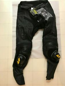 RS TAICHI LEATHER TRACK PANTS GMX MOTION VENTED SIZE EUR 56 BLACK WITH SLIDERS