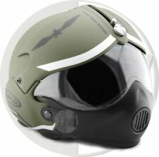 OPEN FACE SCOOTER HELMET OSBE GPA AIRCRAFT TORNADO GREEN ARMY XS 53-54 cm + MASK