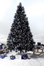 6ft Bushy Black Glitter Tips Artificial Christmas Tree