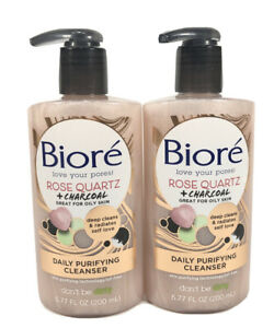 2 Bioré Rose Quartz + Charcoal Daily Purifying Cleanser 6.77 oz
