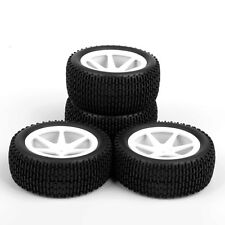 4Pcs Set Front Rear Tyre Rubber Tires Wheels Rims For RC 1:10 Off-Road Buggy Car