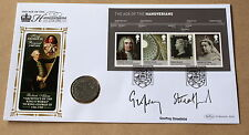 HOUSE OF HANOVER MS 2001 BENHAM FDC LONDON H/S SIGNED ACTOR GEOFFREY STREATFEILD