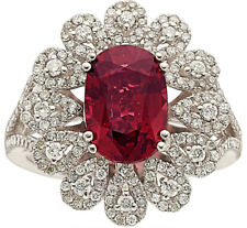 Beautiful 2.4 ct Red Spinel Ring 14k white gold with diamonds GIA report