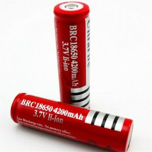 2 UltraFire  3.7v 4200mAh Ultrafire  Rechargeable lithium Li-ion Battery Red