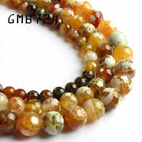 Yellow Brown Fire Agates Natural Stone Beads Round Loose Spacer Bead For Jewelry