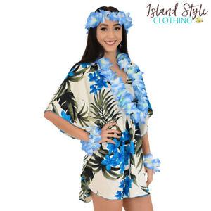 Ladies Kaftan Cream & Blue Leaf + Lei Set