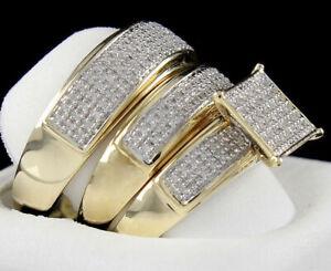 .50Ct VVS1 3-Ring Bridal 18K Yellow Gold Over Engagement Bride Groom Set