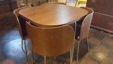 IKEA Fusion 'mid-century' modern brown chrome dining set table chairs