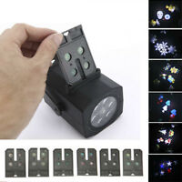 New 6pcs Patterns LED Laser Stage Light Snowflake Projector Indoor Lamp US Stock