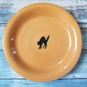 Williams Sonoma Halloween Desert Appetizer Salad Plate Orange Silhouette Cat