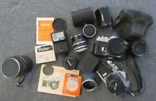 Lot of Vintage Konica, Vivitar, etc.  Cameras, lenses, filters - Hexanon, Auto