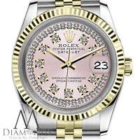Ladies Rolex 26mm Datejust 18K Gold 2 Tone SS String Diamond Dial Jubilee