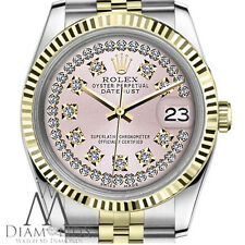 Glossy Pink Rolex 31mm Datejust 18K Gold 2 Tone SS String Diamond Dial Jubilee