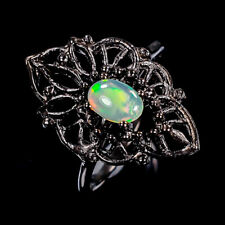 Beauty Rainbow6x4mm Natural Opal 925 Sterling Silver Ring Size 8/R96613