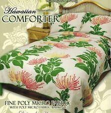 King Hawaiian Quilted Quilt Bedding Comforter & 2 Pillow Sham Lehua flower sage