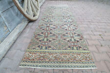 2.8x9.5, HALLWAY Runner, TURKISH Runner, GEOMETRIC, Vintage Runner, Green Pastel