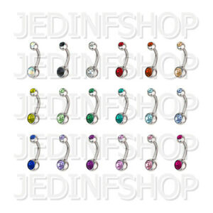 Navel Belly Bar   1.6mm (14g) - 6mm-16mm   Double Gem - 18 Colours   Small Balls
