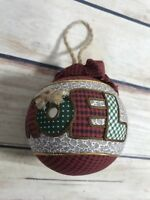 "Christmas Tree Ornament Fabric Ball ""NOEL"" Country Chic Cottage Home Decor Xmas"