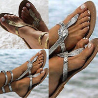 Womens Flat Elastic Strap Bling Gladiator Summer Beach Peep toe Sandals Shoes