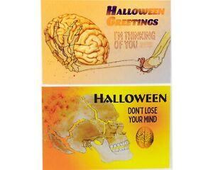 Set of Halloween VTG Style Original Skeleton Postcards - Skull Skeleton Greeting