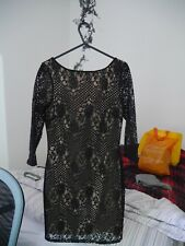 Top Shop Nude with Black Floral Lace Bodycon Long Sleeved Mini Dress Size 8 *