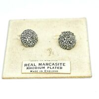 Vintage Marcasite Round Clip On Earrings On Original Card. 50s 60s. Pave. Dainty