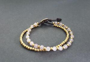 Rose Quartz Double Chain Bracelet ,Brass Bracelets,stone Bracelets
