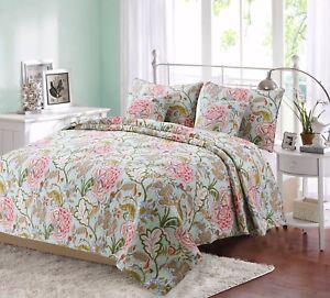 Riemer Floral 100% Cotton Reversible Quilt Set, Bedspread, Coverlet