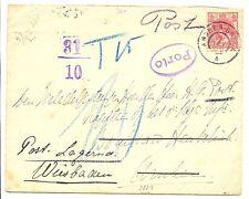 NEDERLAND 1909 REDIRECTED CV  GR= ARNHEM-BREDA = POSTAGE DUE TO GERMANY   F/VF