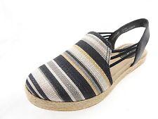 Born Cynthia Semi Sandal Espadrille Flats Black Stripe Fabric 7.5M