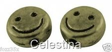 25 x Antique Bronze Smiley Face Spacer Beads Happy Face Charms - 6mm - SP44
