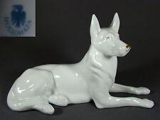 Porzellan Schäferhund Figur Hund,Porcelain Dog Figurine HOLLOHAZA Hungary vtg