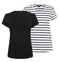 Ladies Miso Crew Neck Classic Ribbed Scoop Pocket T Shirt Sizes from 8 to 16