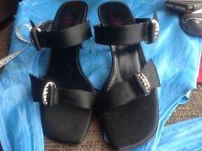Jones Negro Satinado Diamanté Stiletto Zapatos Talla 4