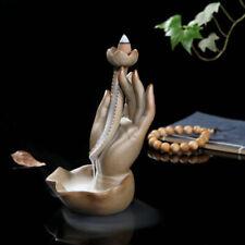 Ceramic Backflow Lotus Buddha Hand Smoke Incense Burner Censer Holder Home Decor