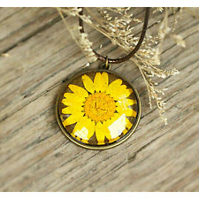 Real Yellow Daisy Handmade Necklaces Pendants Dried Pressed Natural Fresh Flower