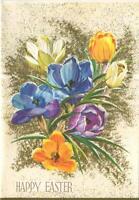 VINTAGE CROCUS SPRING GARDEN FLOWERS GLITTER BERKSHIRES GREETING EASTER CARD