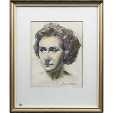 Original Glasgow Art School Realist Pastel Drawing Head Portrait Signed Lusk