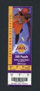 2001 NBA Playoff Ticket Los Angeles Lakers Portland Kobe Bryant, Shaquille Oneal