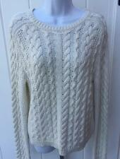 Polo Ralph Lauren Womens chunky cable kint cream sweater crewneck large $198