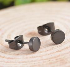 Neue Edelstahl Ohrstecker Ohrringe schwarz runde Damen Herren Ohrschmuck black