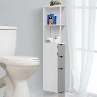Bathroom Cabinet Side Tall Storage Unit Shelf Cupboard Drawer White