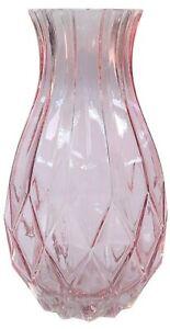 27cm Glass Pink Transparent Geometric Design Decorative Flower Vase Wide Mouth